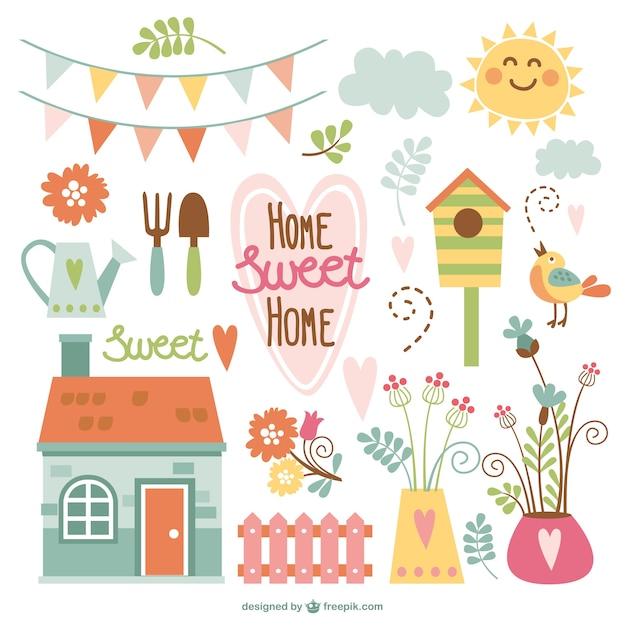 Home sweet home tuin elementen Gratis Vector