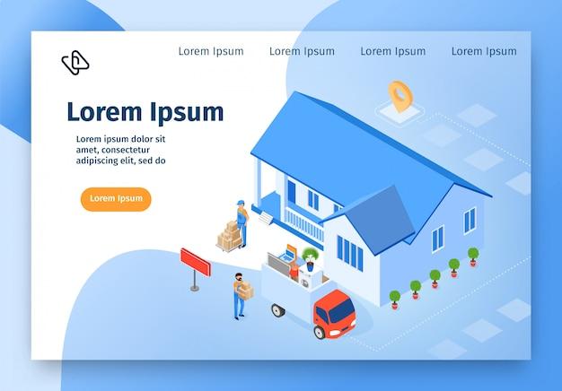 Home verhuisbedrijf isometrische vector website Premium Vector