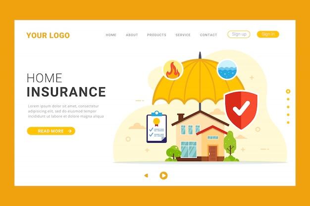 Home verzekering bestemmingspagina sjabloon Premium Vector