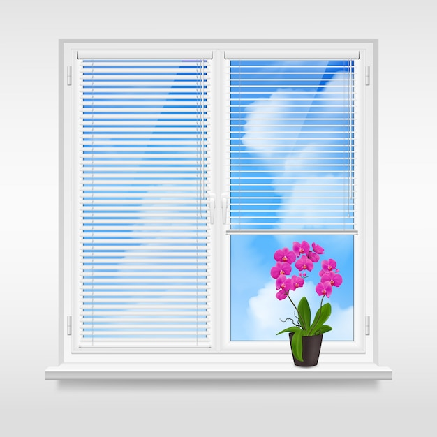 Home window design concept Gratis Vector