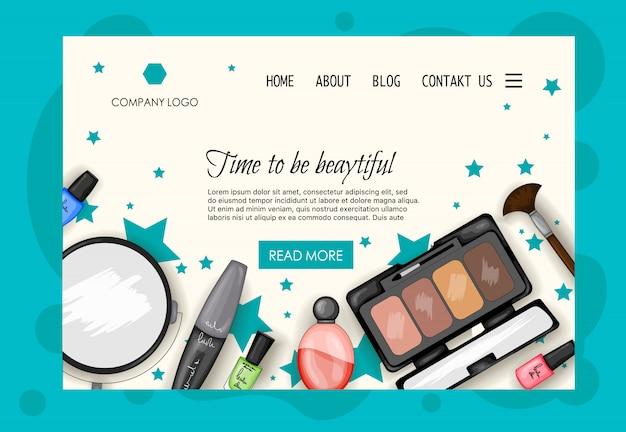 Homepage sjabloon voor schoonheidssalons, cosmetica winkels. cartoon stijl. Premium Vector