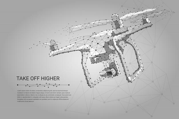 Hommel die met actievideocamera vliegen op grijs Premium Vector