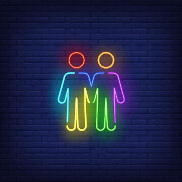 Homoseksueel mannelijk paar neonteken Gratis Vector