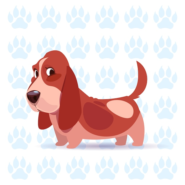 Hond basset hound happy cartoon zit op voetafdrukken achtergrond schattig huisdier Premium Vector