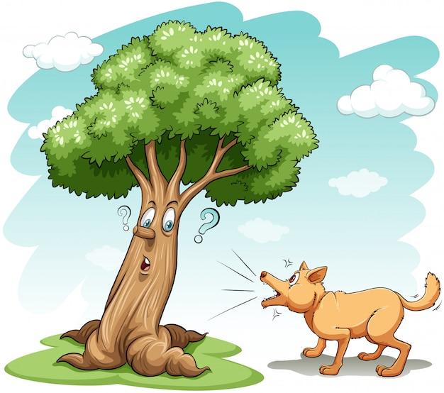 Hond blaft de boom Gratis Vector