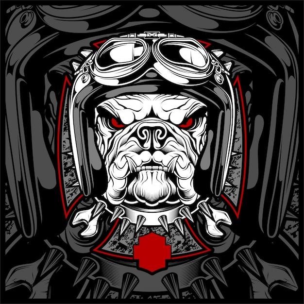 Hond, bulldog dragen van een motorfiets, aero helm. Premium Vector