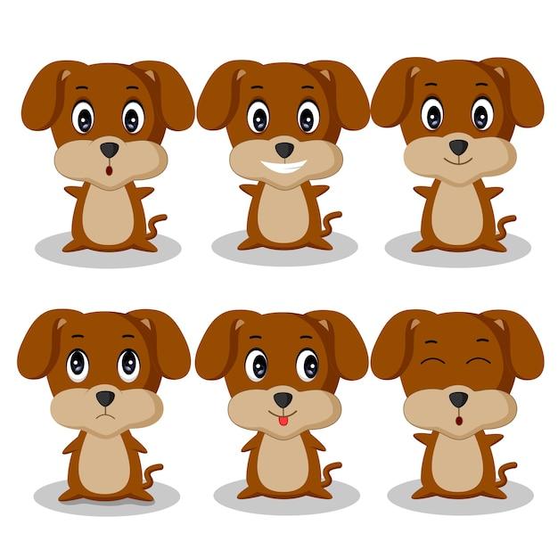 Hond cartoon tekenset Premium Vector