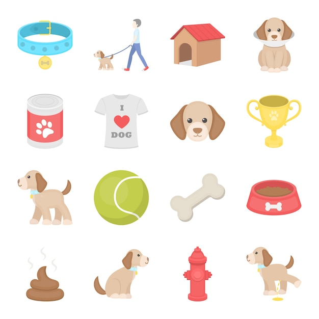 Hond cartoon vector icon set. vector illustratie van het verzorgen van hond. Premium Vector