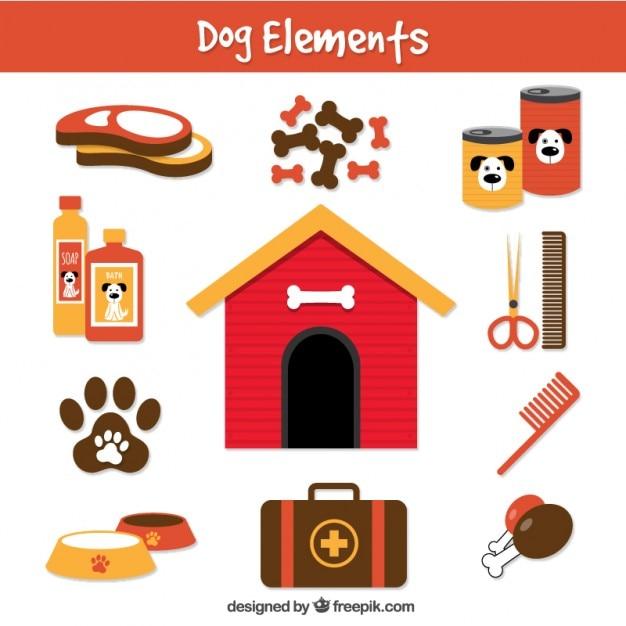 Hond elementen in vlakke stijl Gratis Vector
