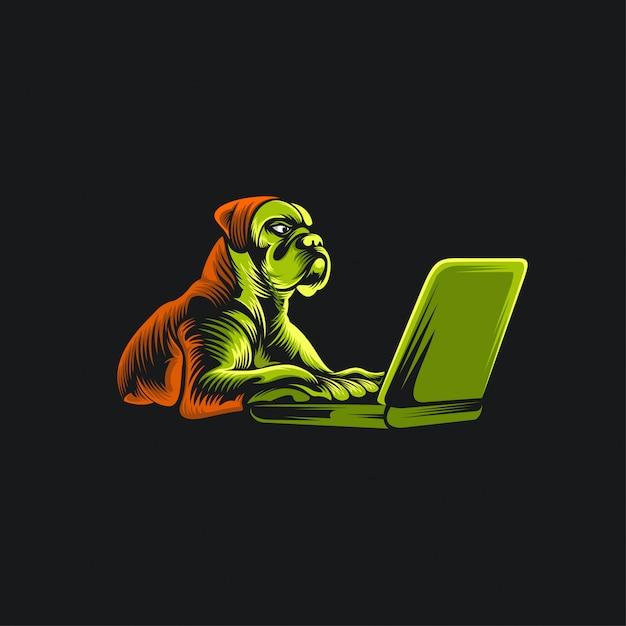Hond en laptop logo illustratie Premium Vector