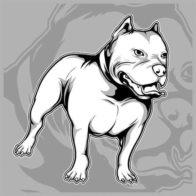 Hond fokt de amerikaanse pitbull-handtekening Premium Vector