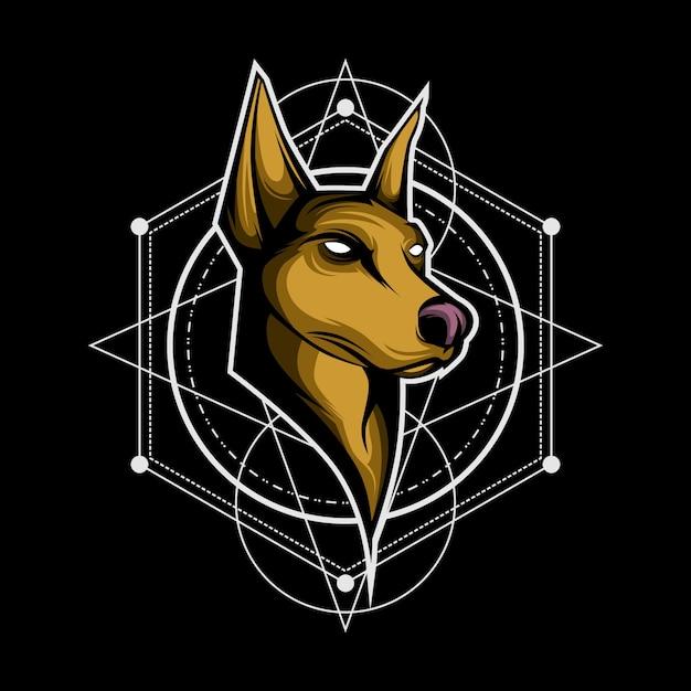 Hond heilige geometrie logo Premium Vector