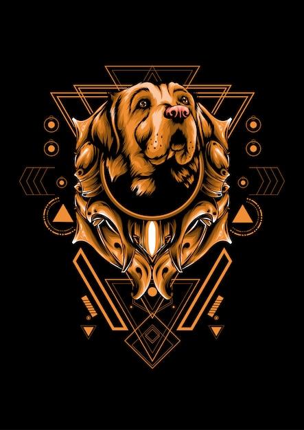 Hond heilige geometrie Premium Vector