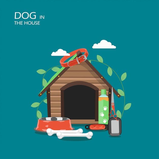 Hond in de illustratie van de huis vlakke stijl Premium Vector