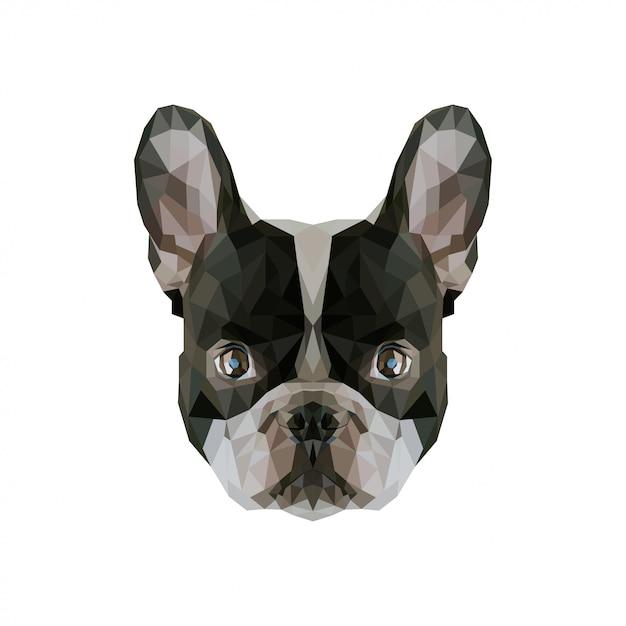 Hond laag poly kunstwerk Premium Vector