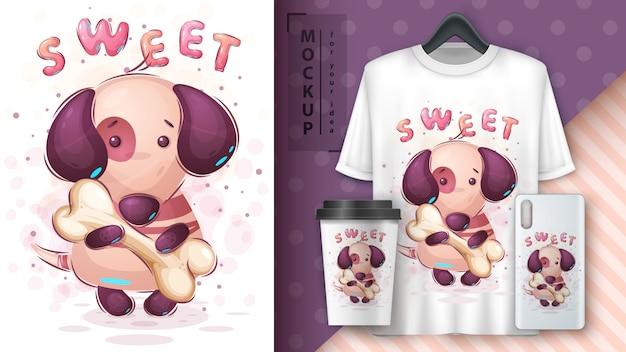Hond met bot merchandising Gratis Vector