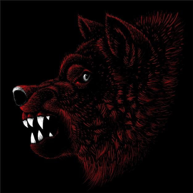 Hond of wolf voor tattoo of t-shirt design of uitloper. leuke stijlhond of wolf Premium Vector