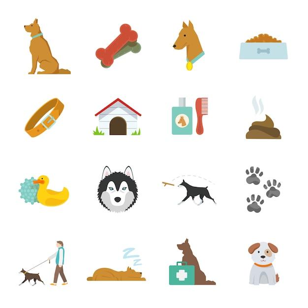 Hond pictogrammen plat Gratis Vector