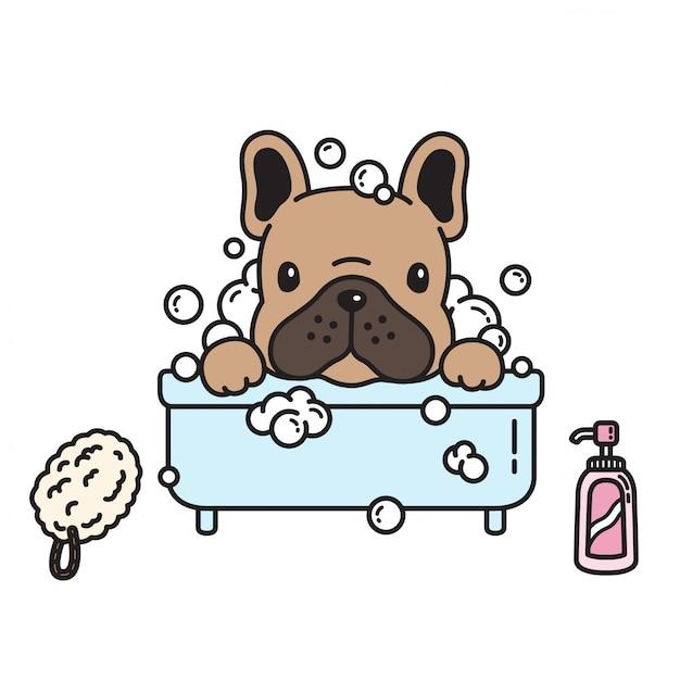 Hond vector franse bulldog bad douche cartoon Premium Vector