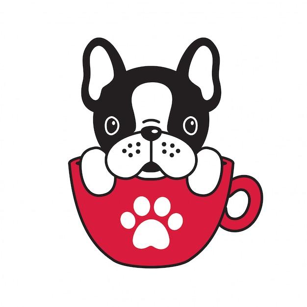 Hond vector franse bulldog koffie beker poot Premium Vector
