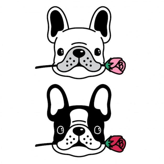 Hond vector franse bulldog rose bloem puppy cartoon Premium Vector