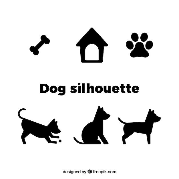 Hond vector silhouet Gratis Vector