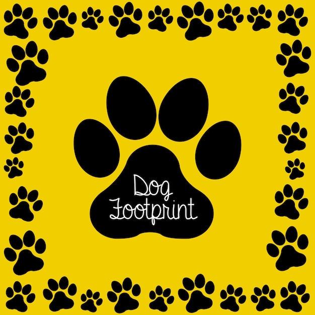 Hond voetafdruk over gele achtergrond vectorillustratie Premium Vector