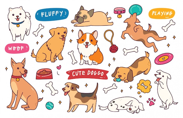 Hond vormen hand getrokken doodle collectie Premium Vector