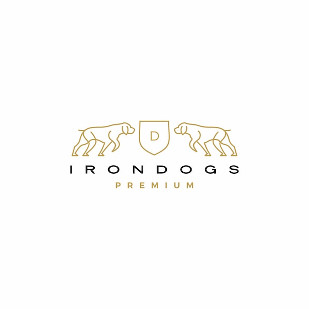 Hond wapenschild logo pictogram illustratie Premium Vector