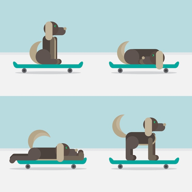 Hond zittend op een skateboard. vet symbool. levering pictogram. Premium Vector