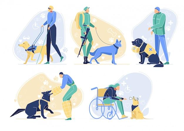 Honden dienen met eigenaren ingesteld. dieren beroepen Premium Vector