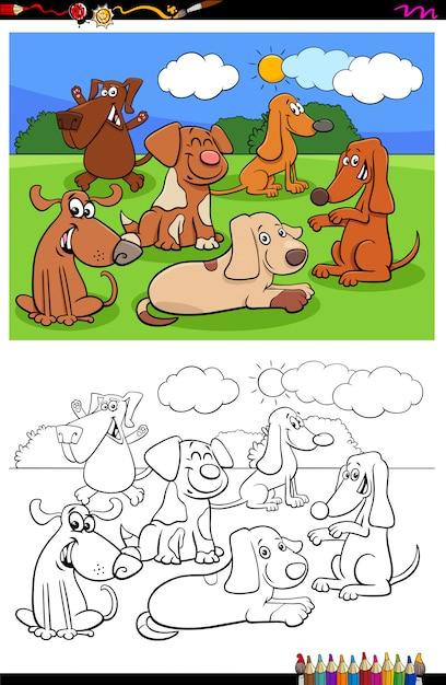 Honden en puppy's tekens groep kleurenboek Premium Vector