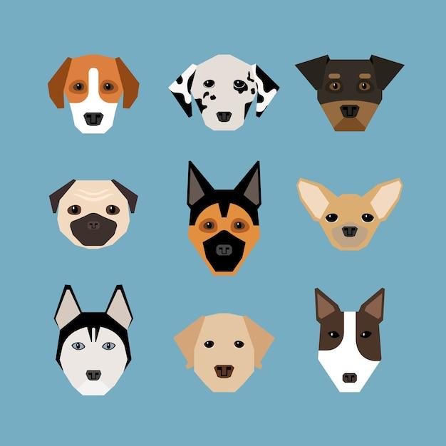 Honden in vlakke stijl. huisdier en stamboom, waakhond en dalmatiërs, herder en mopshond Gratis Vector
