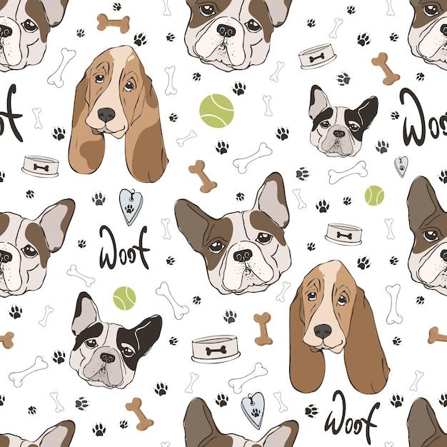 Honden patroon Premium Vector