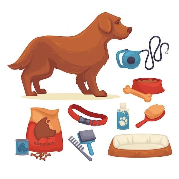 Honden set accessoires voor honden. Premium Vector