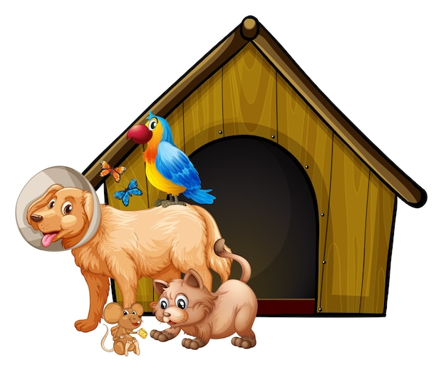 Hondenkooi met hond groep cartoon geïsoleerd Gratis Vector