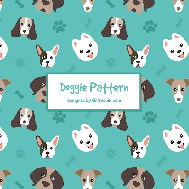 Hondenpatroon collectie Gratis Vector