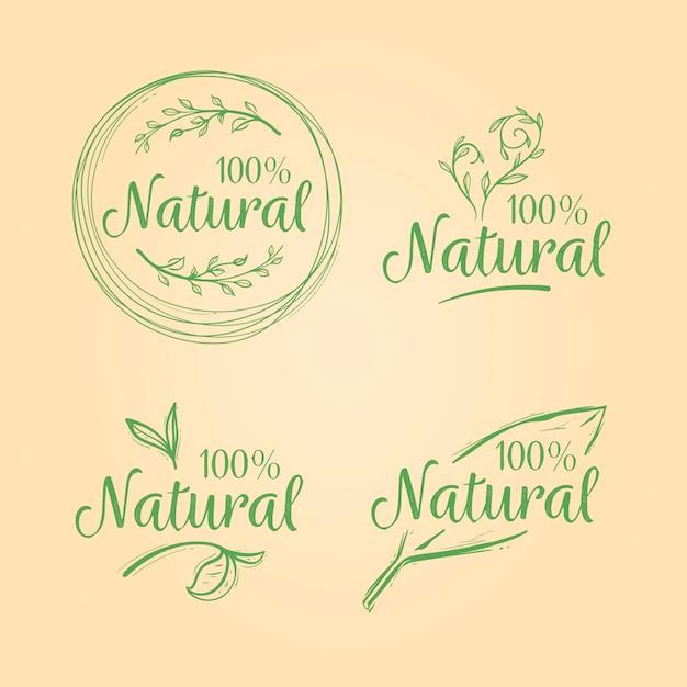 Honderd procent natuurlijke badgeselectie Gratis Vector