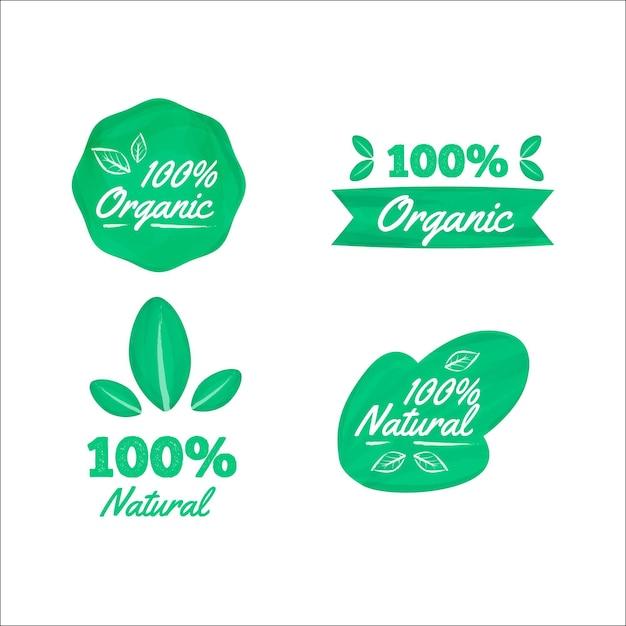 Honderd procent natuurlijke labelset Gratis Vector