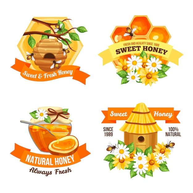 Honey advertising labels Gratis Vector