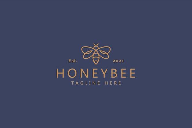 Honey bee sweet simple line logo concept Premium Vector