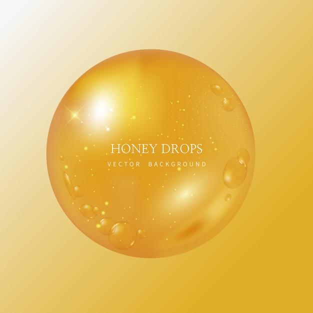 Honey drip en honey background Premium Vector