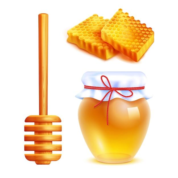 Honey realistische icons set Gratis Vector