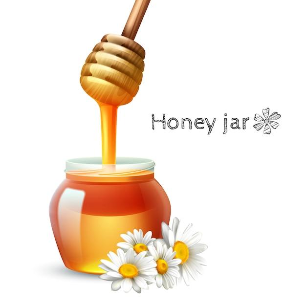 Honey stick daisy flower en jar realistische set Gratis Vector