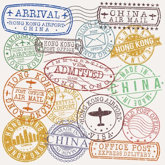 Hong kong china set van reizen en zakelijke stempelontwerpen Premium Vector