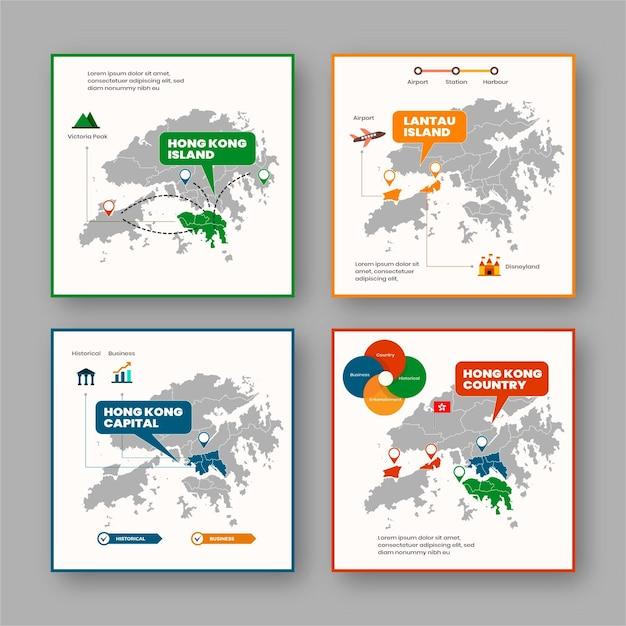 Hong kong kaart infographic in plat ontwerp Premium Vector