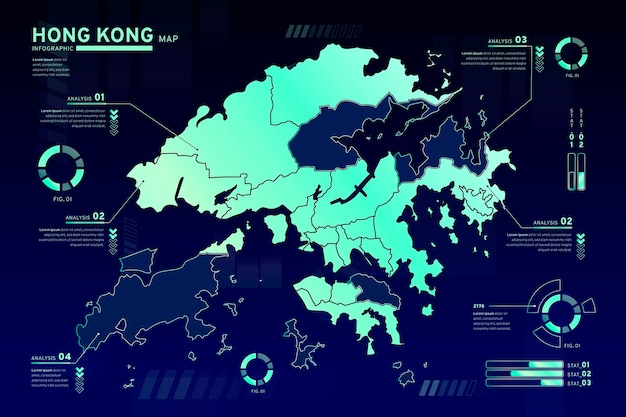 Hong kong kaart infographics sjabloon Gratis Vector