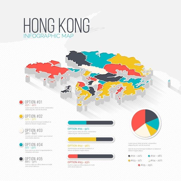 Hong kong kaart infographics Gratis Vector