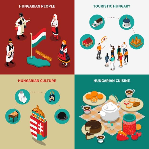 Hongarije isometrische toeristische 2x2 icons set Gratis Vector
