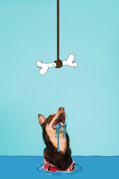 Hongerige hond die omhoog een smakelijk been kijkt Gratis Vector
